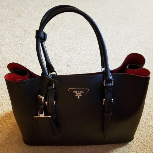 c1563699f1ba ... order authentic prada saffiano cuir double bag large 6938f abf1e